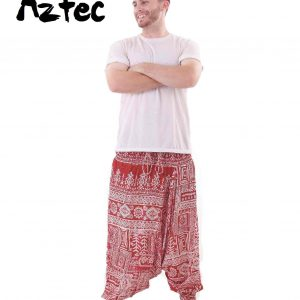 Aztec Harem Tribal Pants Drop Crotch in Red and White for Men - front