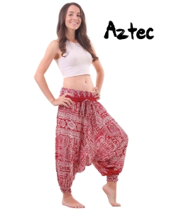 Aztec Harem Tribal Pants Drop Crotch in Red and White - front