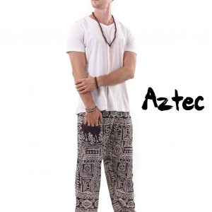 Aztec Harem Tribal Pants for Men in Black and White - front