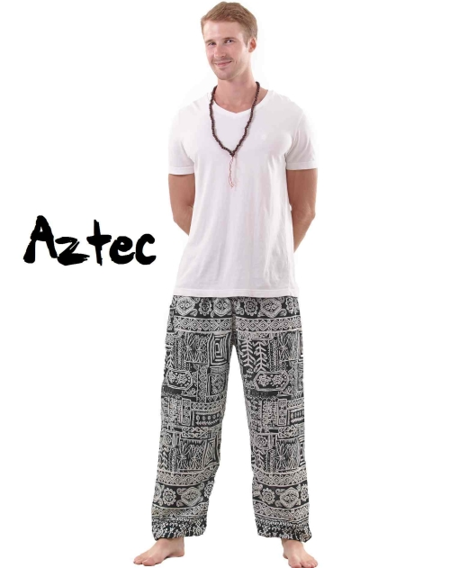 Aztec Harem Tribal Pants for Men in Green and White - front