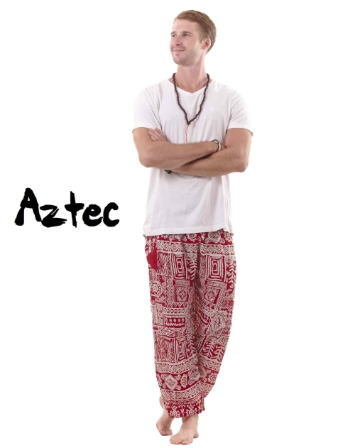 Aztec Harem Tribal Pants for Men in Red - front