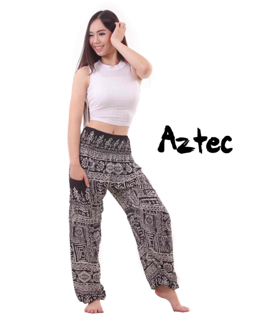 Aztec Harem Tribal Pants in Black and White - front