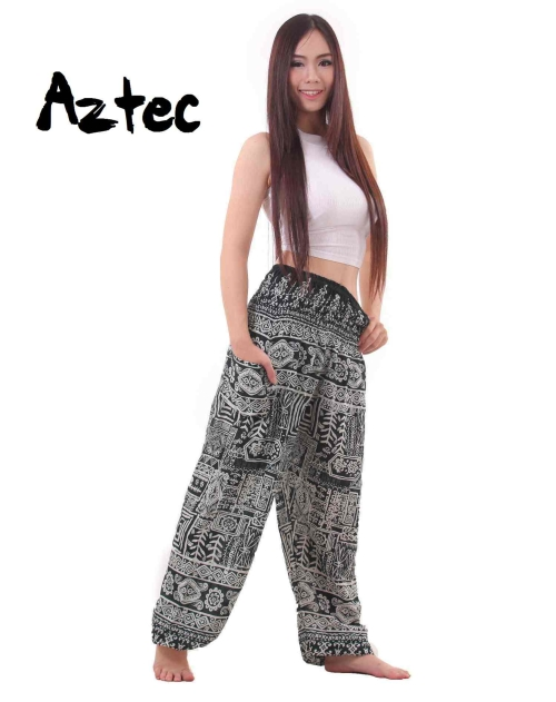 Aztec Harem Tribal Pants in Green and White - front