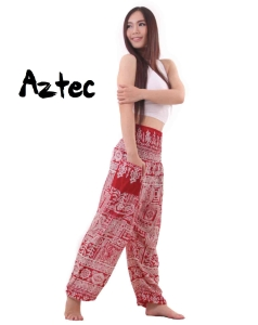 Aztec Harem Tribal Pants in Red - side