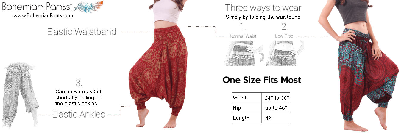 Bohemian Pants Harem Pants Size Guide Women Drop Crotch