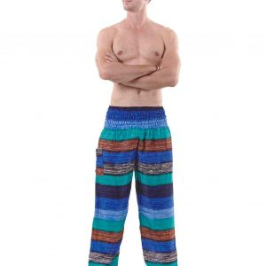 Harem Boho Pants for Men in Sea Colors - front
