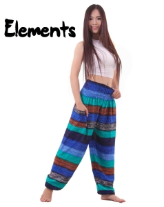 Elements Harem Boho Pants in Sea Colors - front