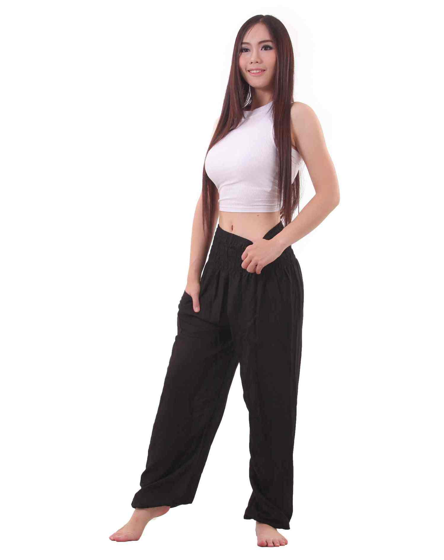 Black Harem Pants. Black is always in, shop from our collection of black women's harem pants. From red & gold accents to the classic black & white, we have the harem pants in black .