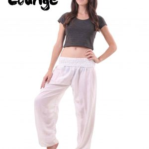 Harem Genie Pants in White for Women - front