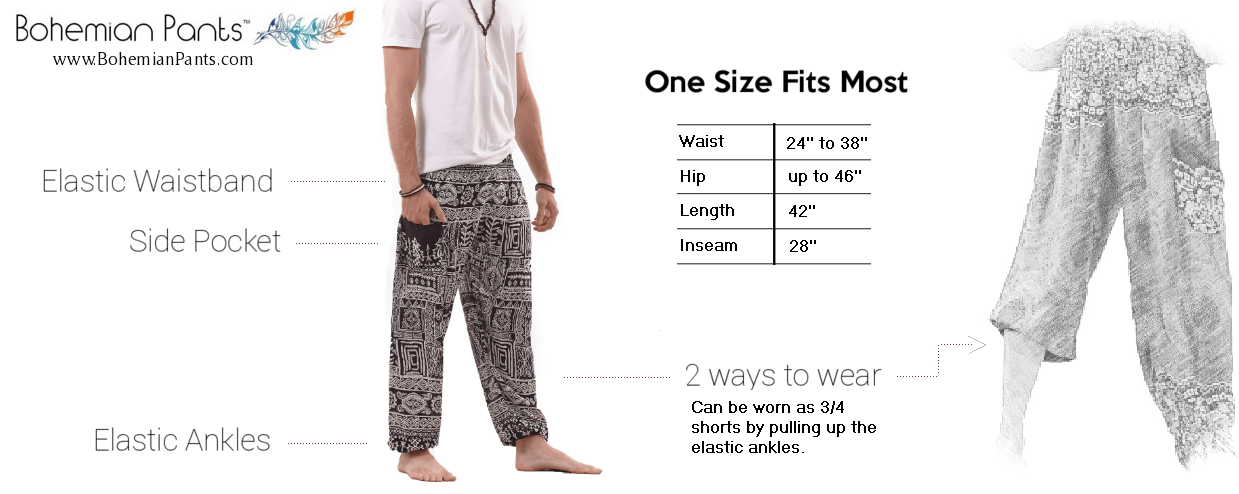 Bohemian Pants Harem Pants Size Guide Men