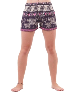 Harem Shorts Elephant Patterns in Purple & Pink - closeup