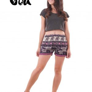 Harem Shorts Elephant Patterns in Purple & Pink - front