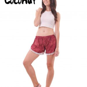 Harem Shorts Paisley Patterns in Red - front