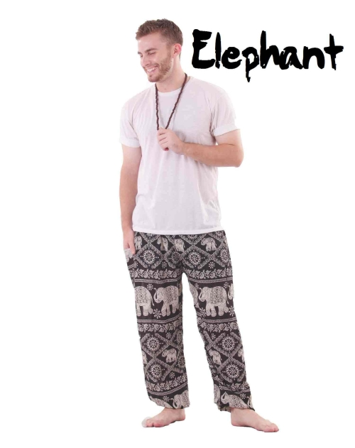 Harem Thai Elephant Pants in Black and White - front