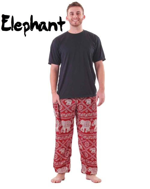 Harem Thai Elephant Pants in Red and White for Men - front