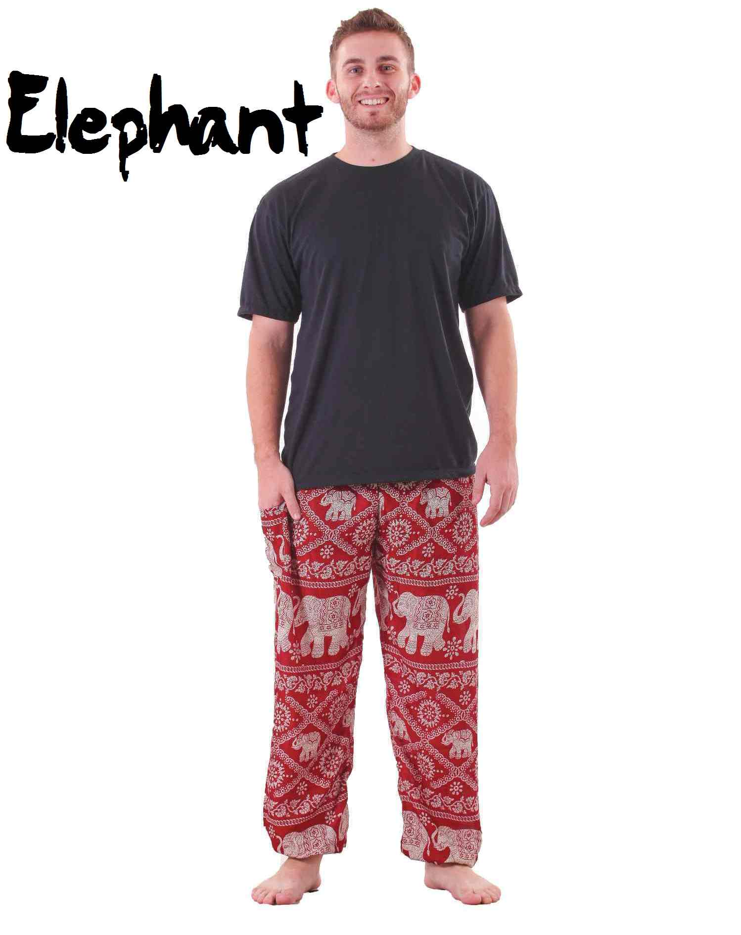 Plus Size Elephant Pants in Red & White for Men - by BohemianPants