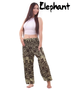 Harem Thai Elephant Pants in Black and Khaki - front