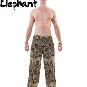 Harem Thai Elephant Pants in Black and Khaki for Men - front