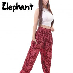 Harem Thai Elephant Pants in Red - front