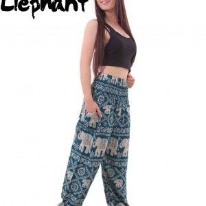 Harem Thai Elephant Pants in Sea Green - front
