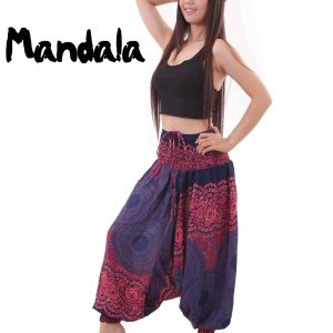 Mandala Harem Hippie Pants Drop Crotch in Blue & Red - side