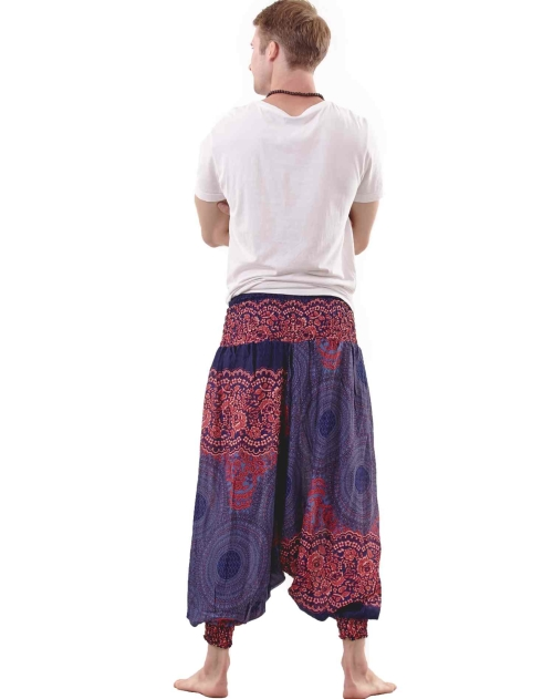 Perfect for chill time, this funky pair of harem pants are a must for every groovy guy! A soft stretch fabric, two front pockets and full length baggy cut has every comfort need sorted, while an all-over boho print in red will see the day through in style.
