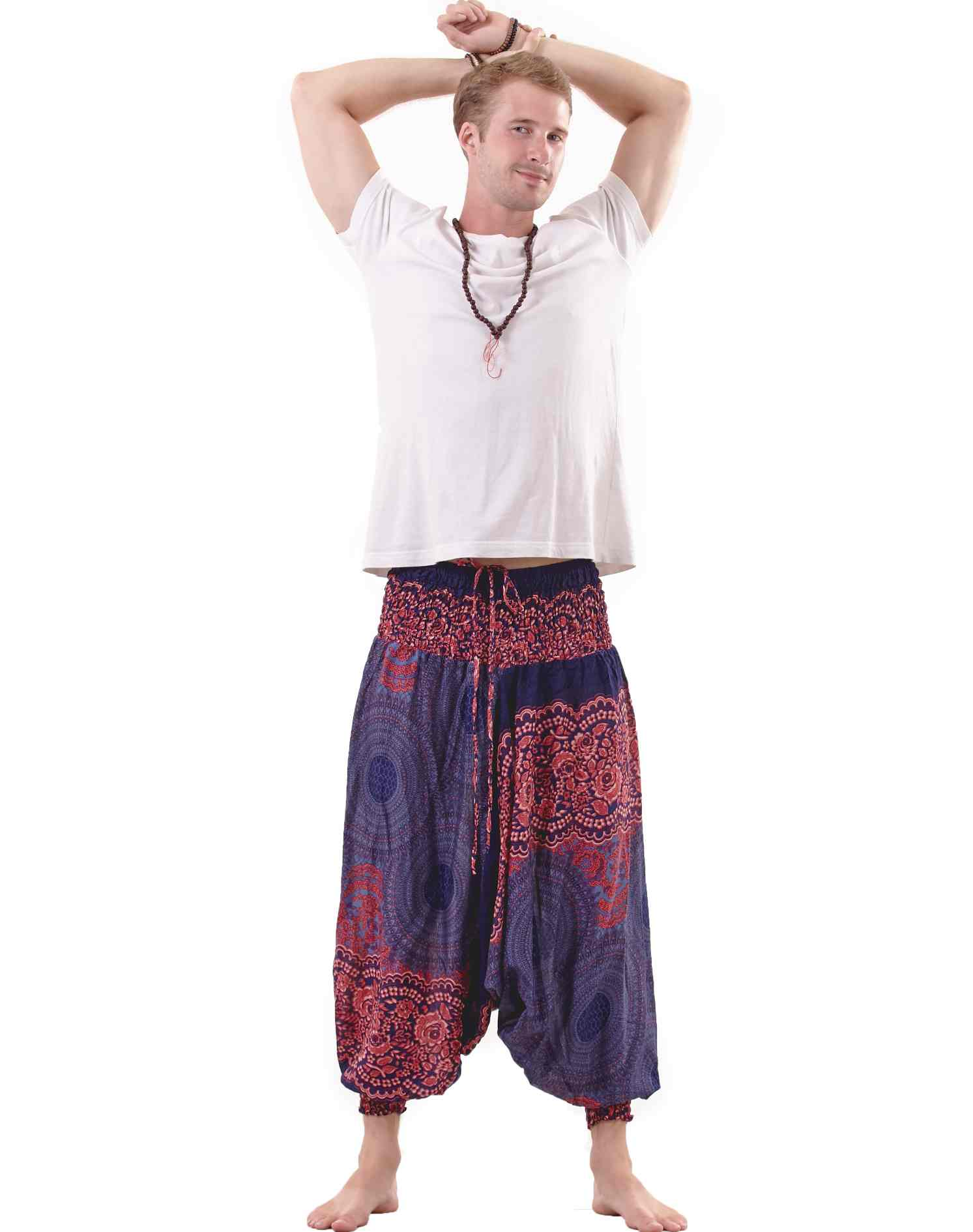 Mandala Hippie Pants Drop Crotch for Men in Blue & Red
