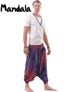 Mandala Harem Hippie Pants Drop Crotch for Men Red and Blue - side
