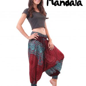 Mandala Harem Hippie Pants Drop Crotch in Red and Turquoise - side