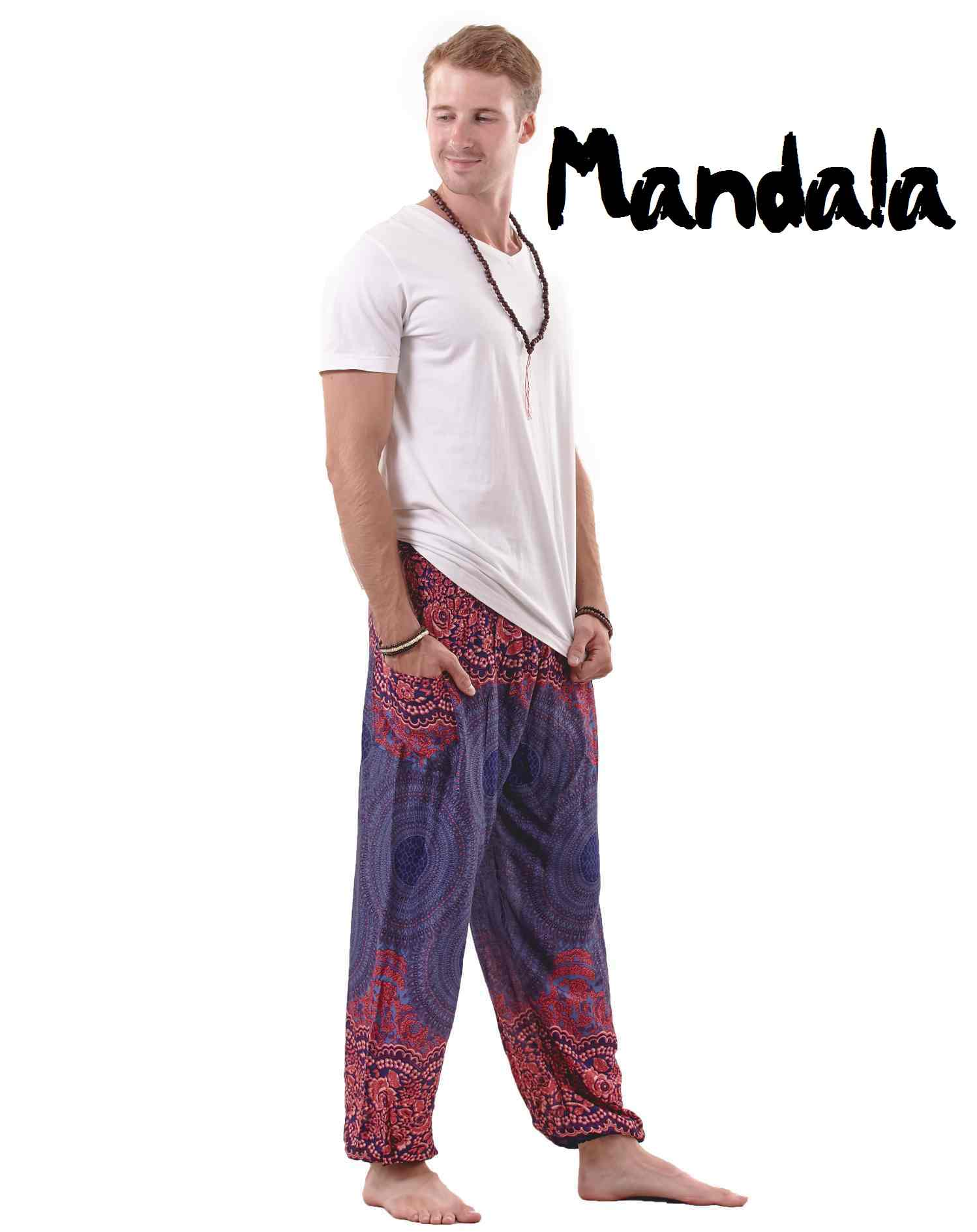 Mandala Harem Hippie Pants for Men in Blue & Red