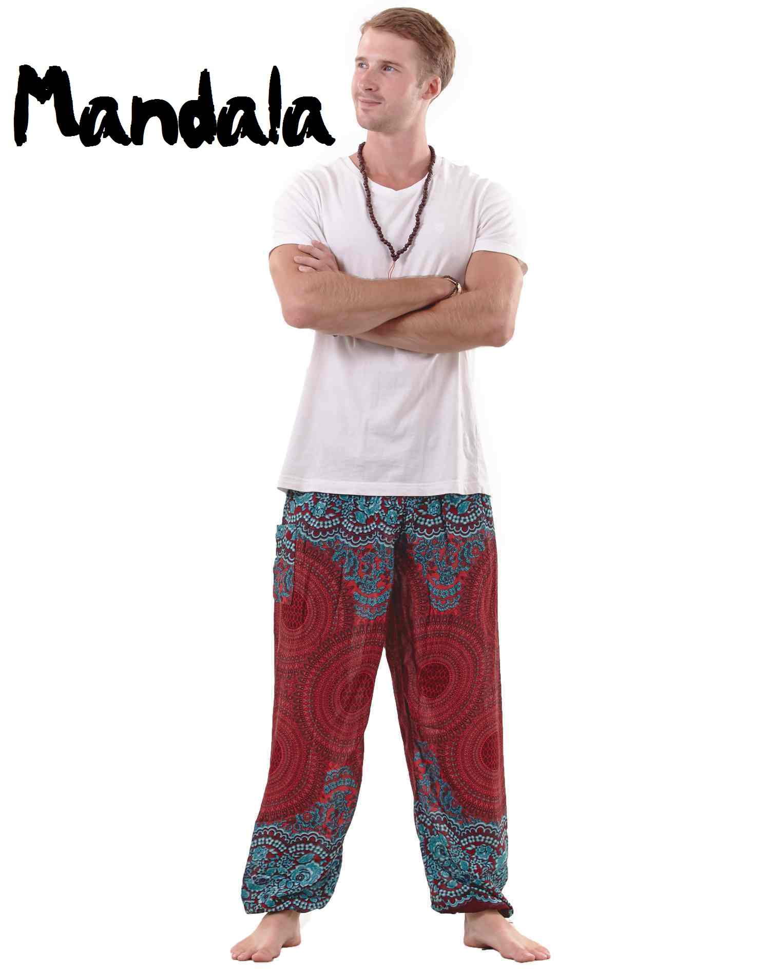 Mandala Harem Hippie Pants for Men in Red & Turquoise