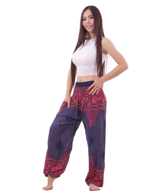 Mandala Harem Hippie Pants in Blue and Red - front