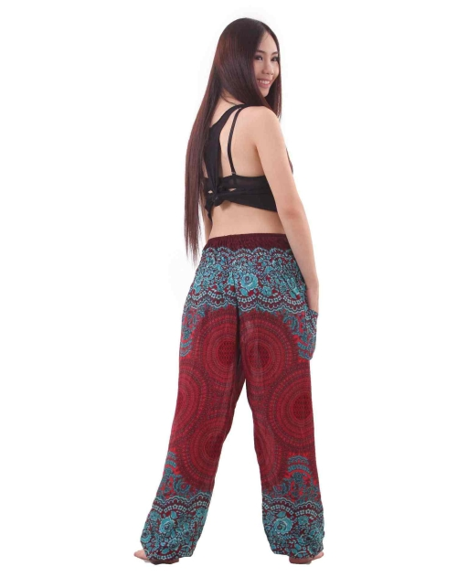 Mandala Harem Hippie Pants in Red and Turquoise - back