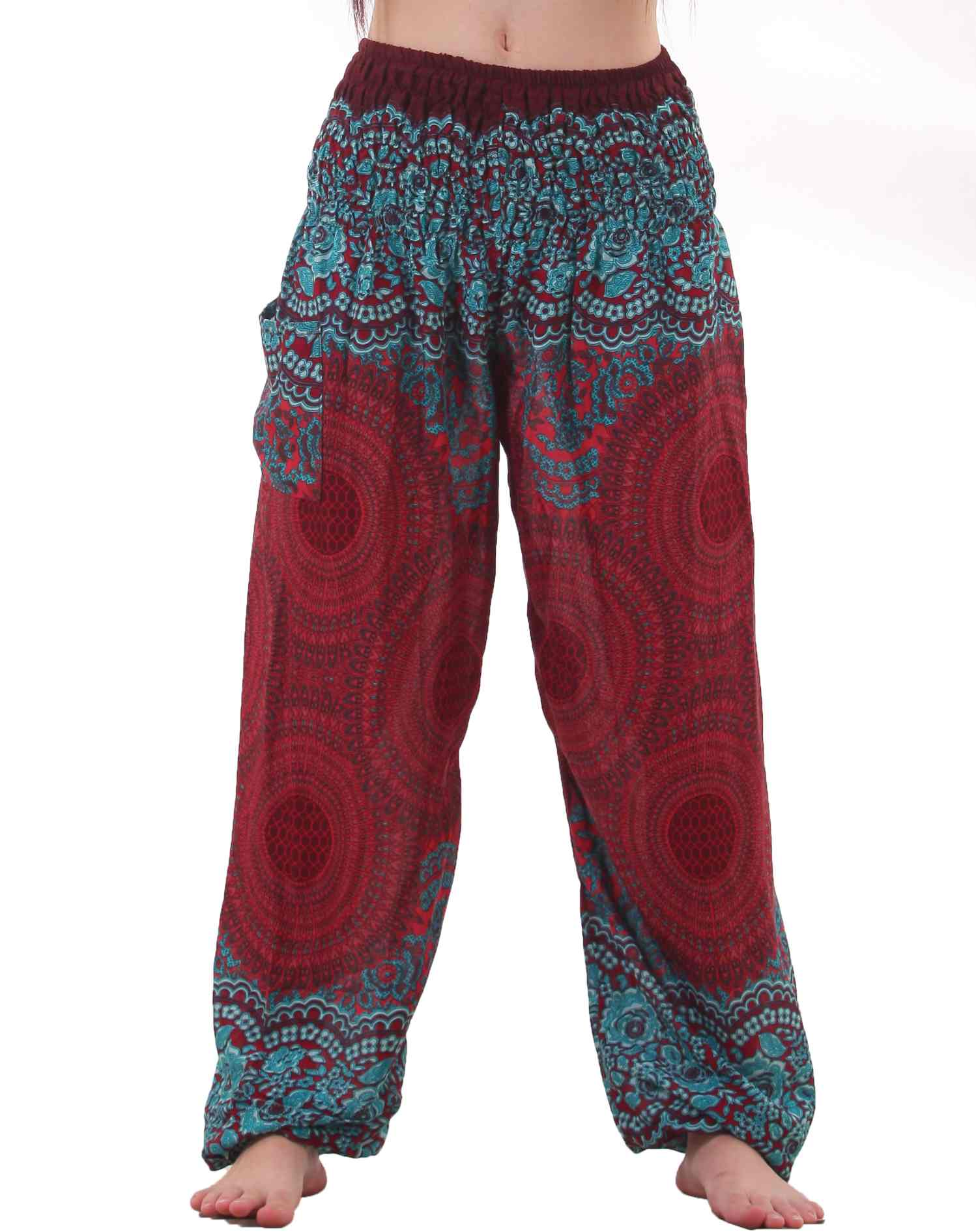 Luxury Mandala Harem Hippie Pants In Turquoise For Women