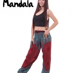 Mandala Harem Hippie Pants in Red and Turquoise - front