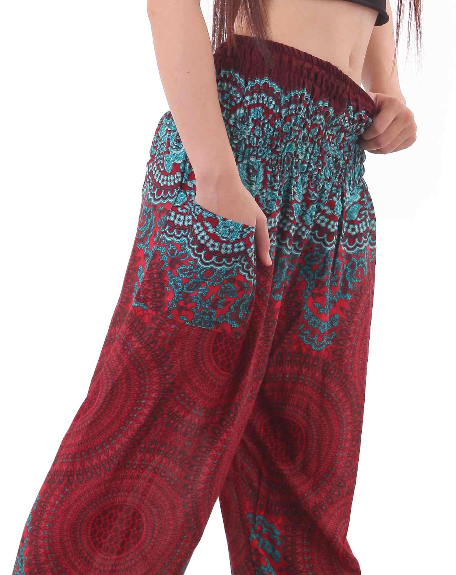 Plus Size Mandala Harem Hippie Pants in Red and Turquoise