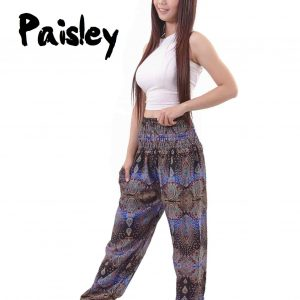 Paisley Harem Pants in Black and Blue - front