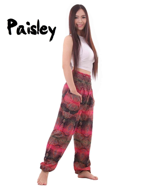 Paisley Harem Pants in Black and Pink - side