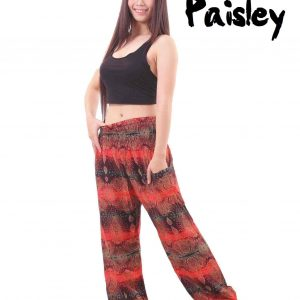 Paisley Harem Pants in Black and Red - front