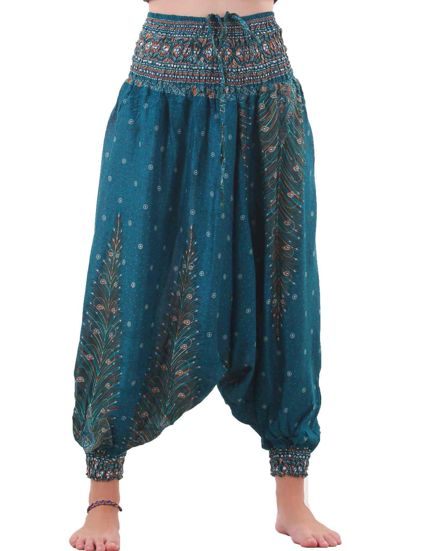 Harem pants look like MC Hammer pants. The crotch is lower and the side seams may meet under the rise with 4 corners, instead of adding a fly or a diamond shape like activewear.