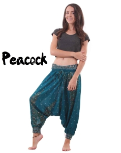 Peacock harem drop crotch yoga pants in turquoise - front