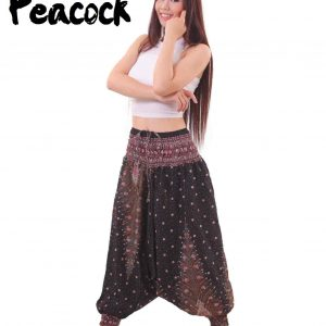 Peacock Harem Drop Crotch Yoga Pants for Men in Black & Maroon - side