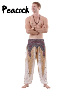 Peacock Harem Yoga Pants for Men in White - front