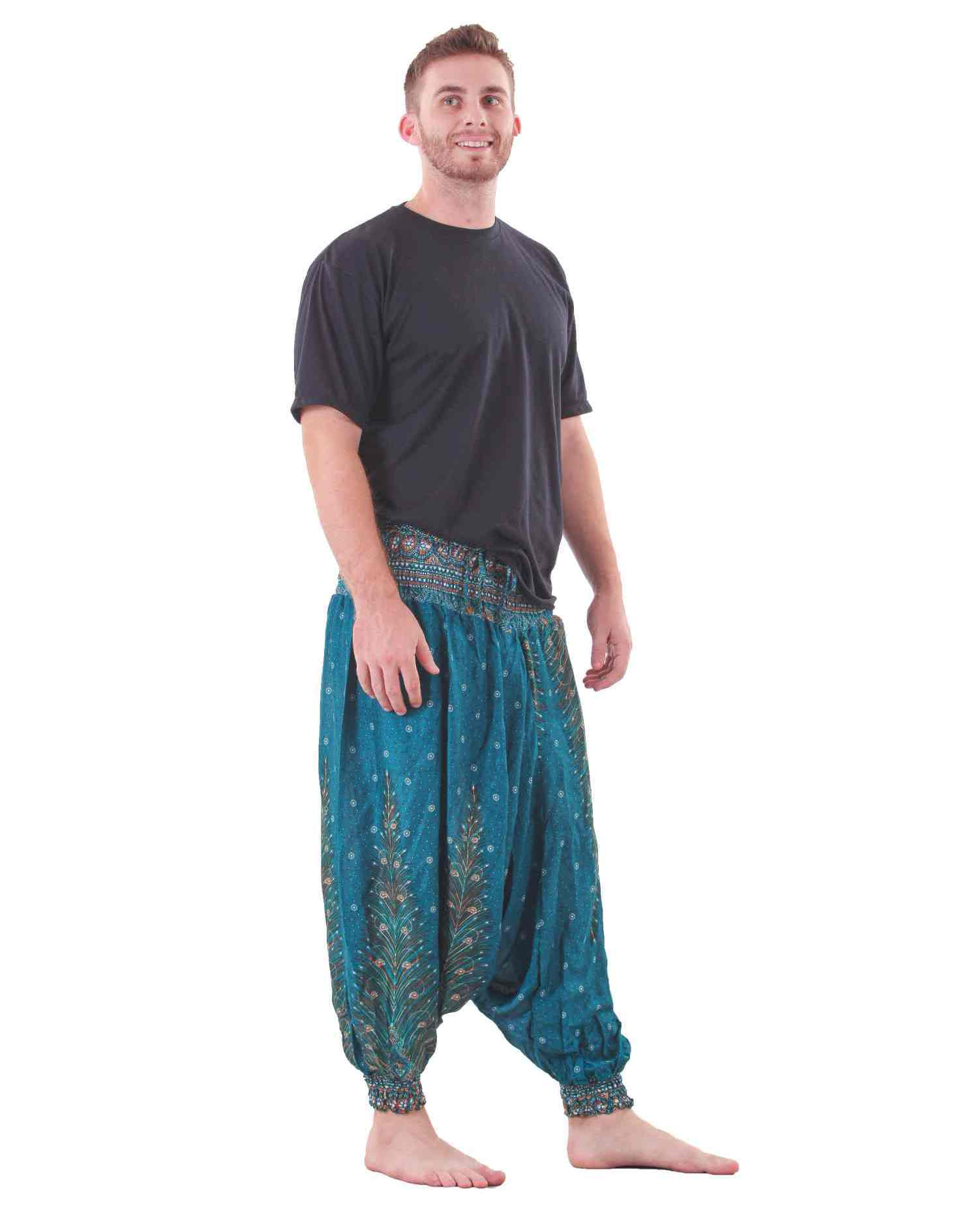 peacock harem yoga pants for men in turquoise