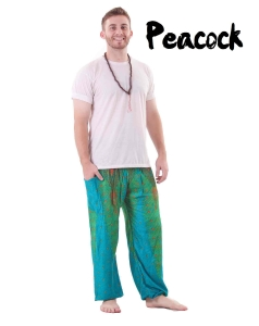 Peacock harem yoga pants in green and turquoise for men - front