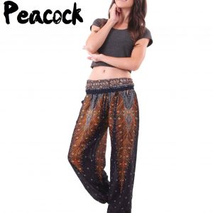 Peacock Harem Yoga Pants in Black and Maroon - front