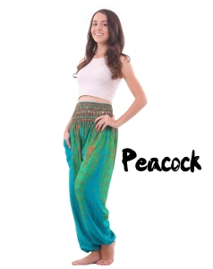 Peacock Harem Yoga Pants in Green and Turquoise - front