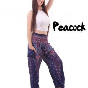 Peacock Harem Yoga Pants in Purple - front