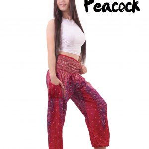 Peacock Harem Yoga Pants in Red - side