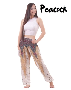 Peacock Harem Yoga Pants in White - front